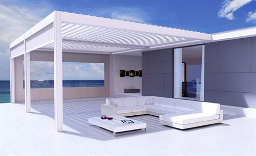 trs sonnenschutz pergola mit drehbaren aluminium lamellen. Black Bedroom Furniture Sets. Home Design Ideas